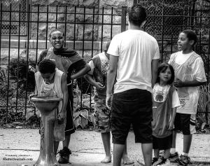 Kids play summer basketball; Chicago, Il.