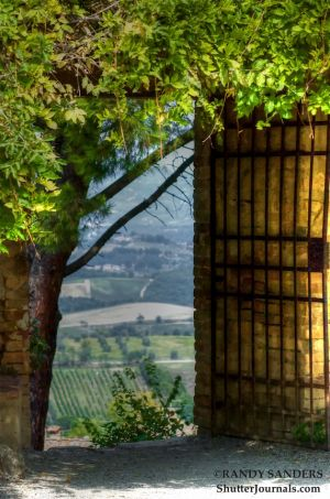 Gate open on to Tuscany